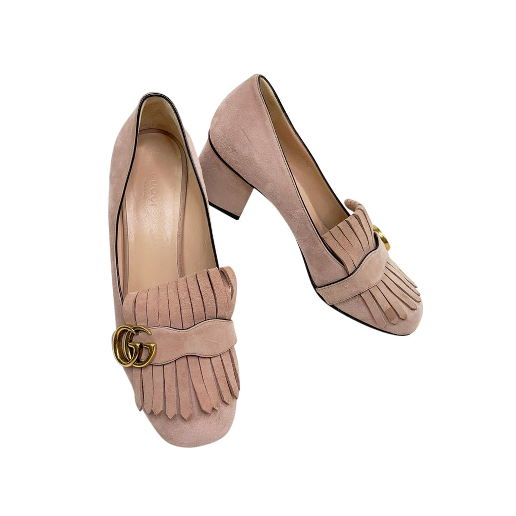 gucci suede pink marmot loafers