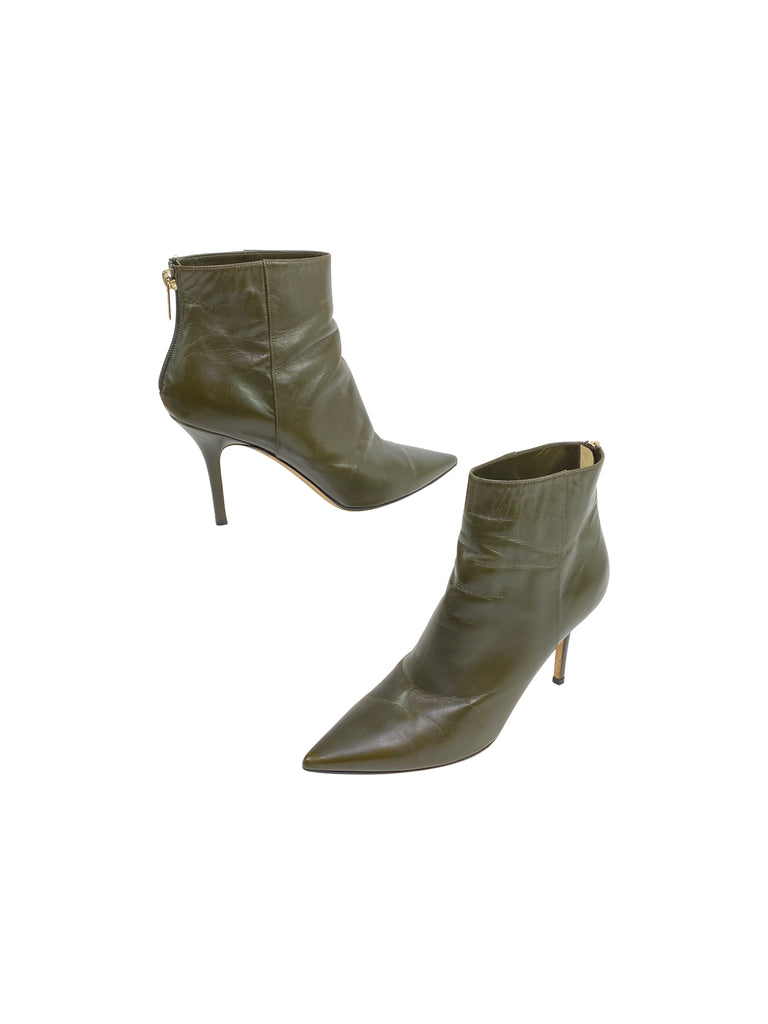Jimmy Choo olive leather booties boots