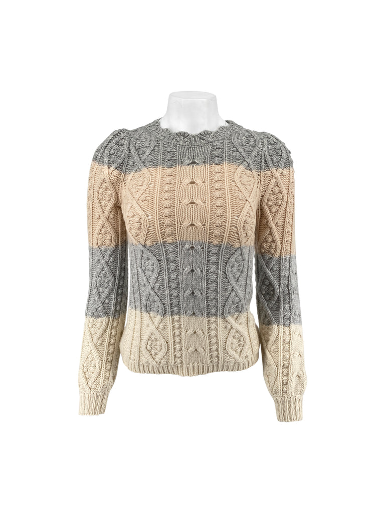 la vie Rebecca Taylor cabled knit sweater beige grey