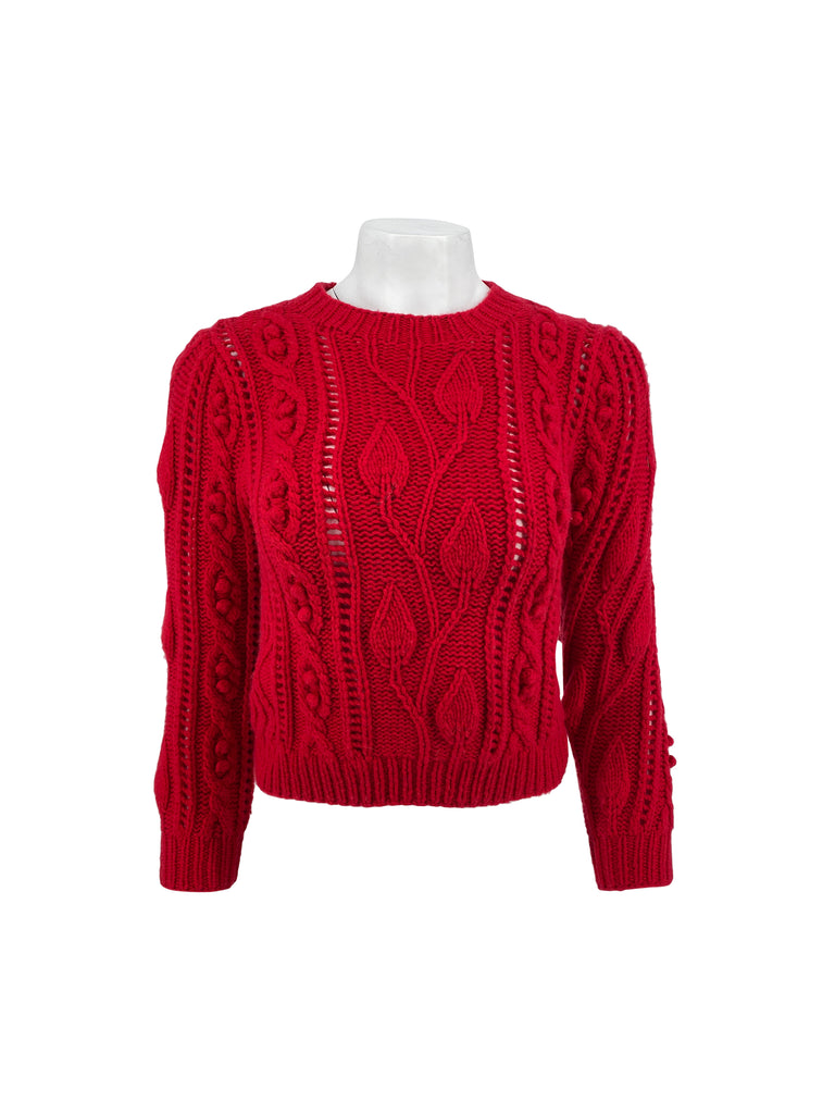 CO red cable knit sweater