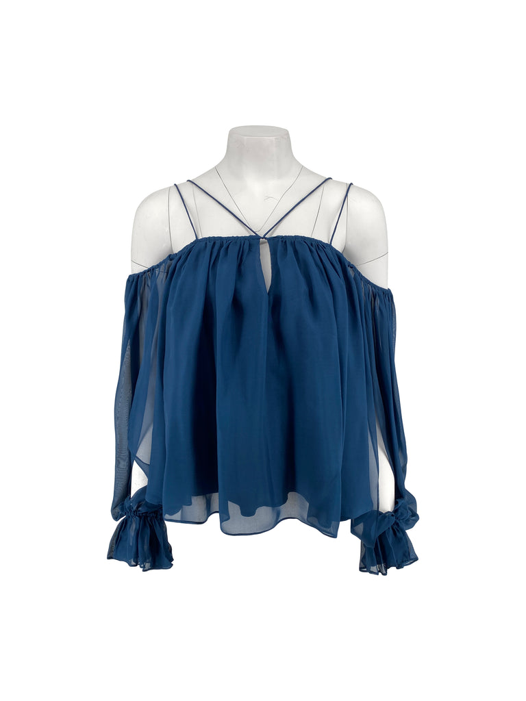 Amur blue ruffle top blouse silk teal
