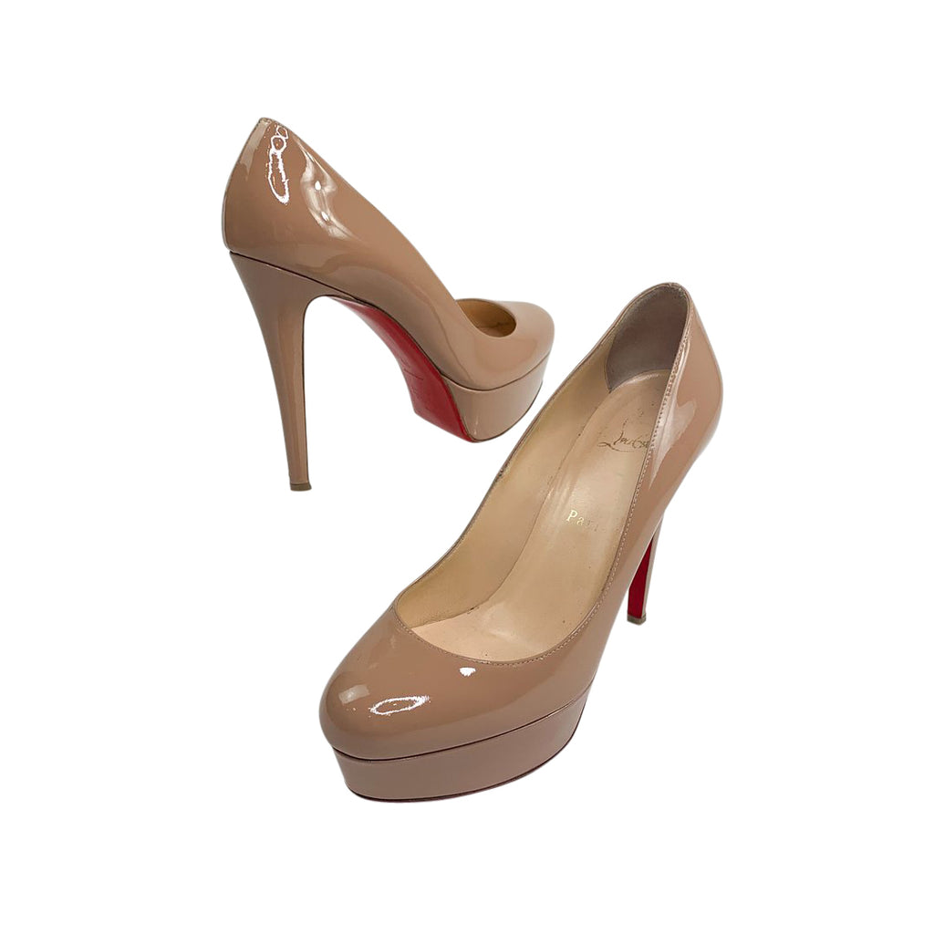 louboutin patent nude pumps heels