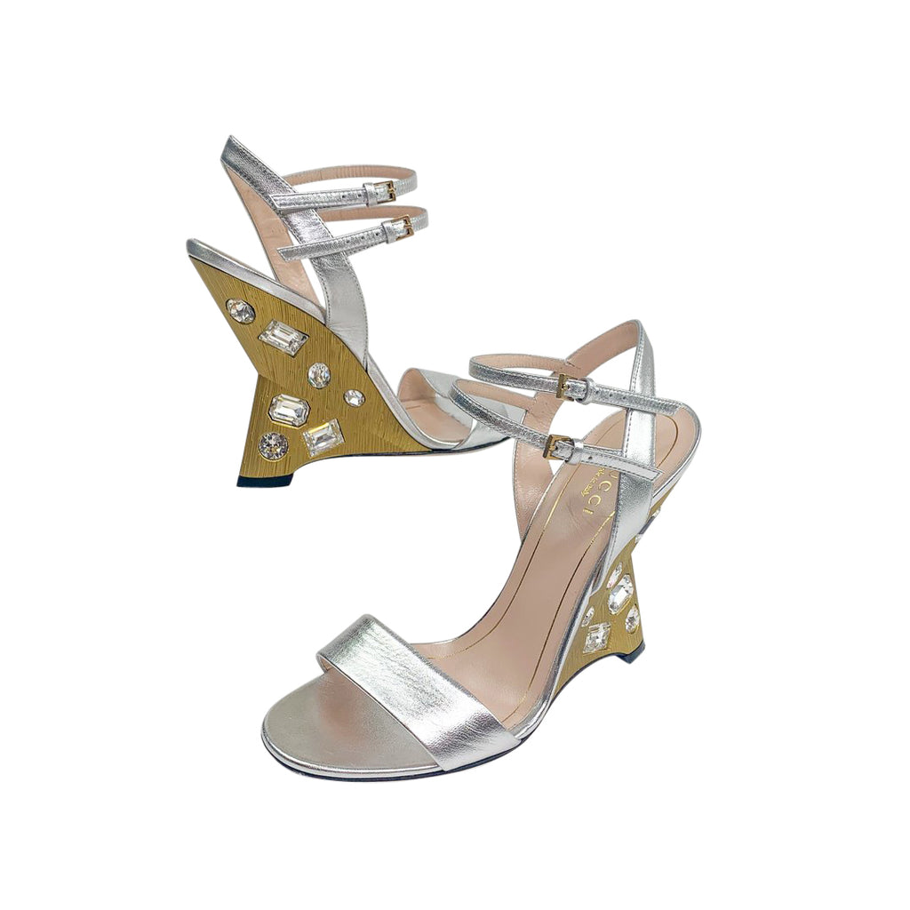 gucci silver wedge heel gold