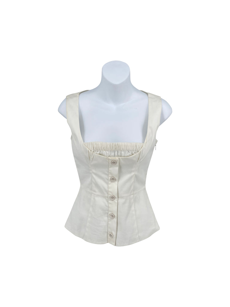 Prada white blouse square neck
