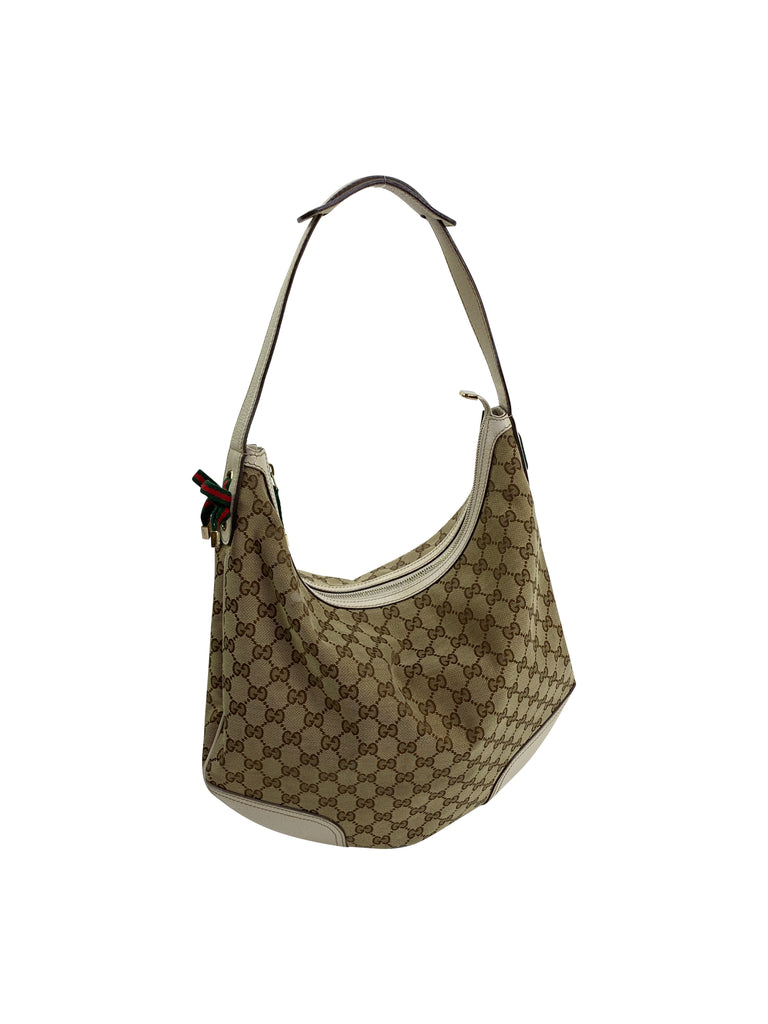 Gucci monogram hobo beige nude brown handbag designer princy hobo
