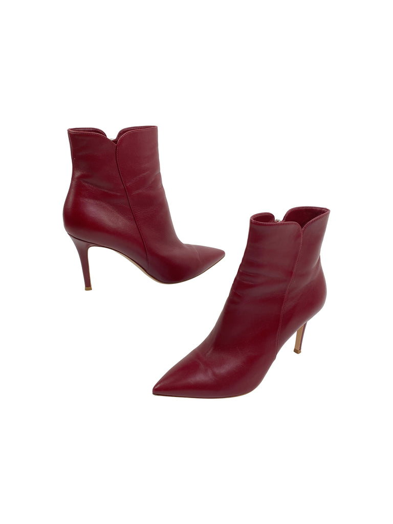 gianvito rossi red leather heels booties