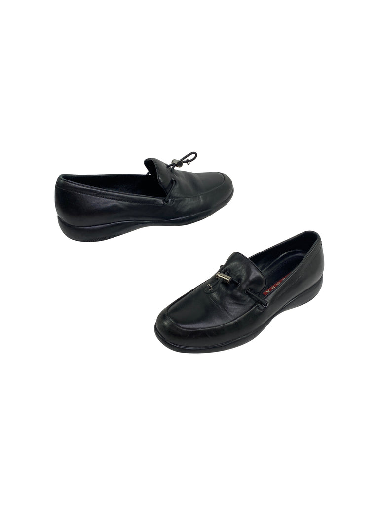Prada driving flats loafers black