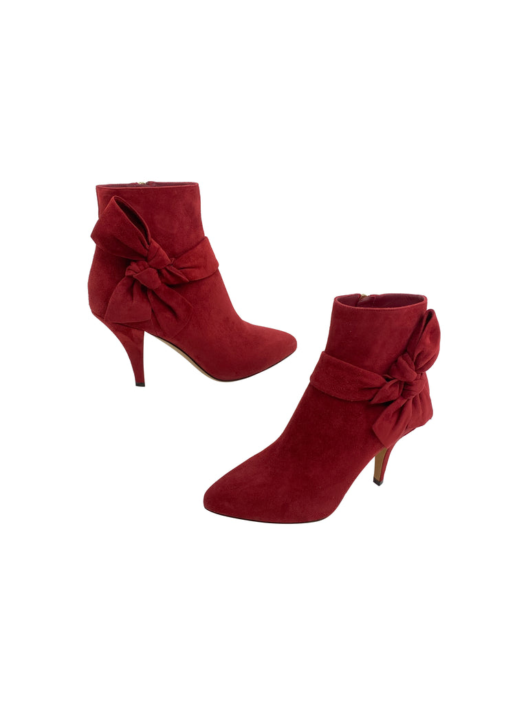 Valentino red suede booties heels bow