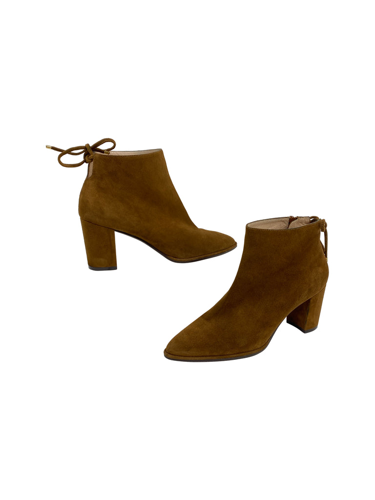 stuart weitzman cognac suede booties boots leather