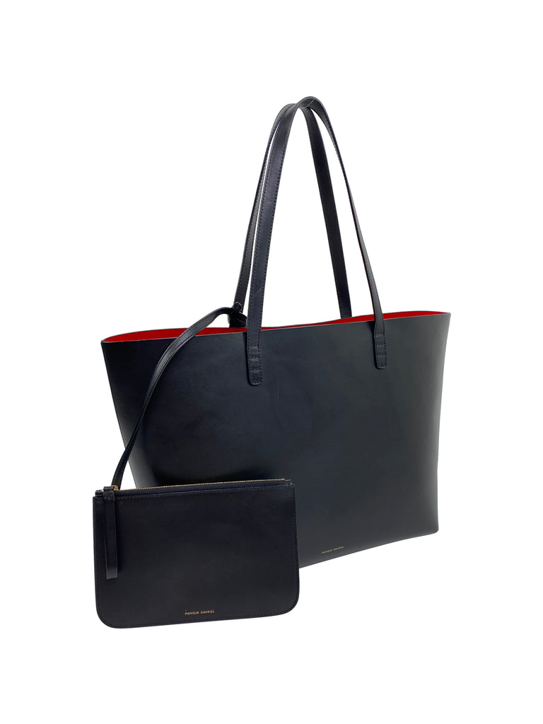 mansur Gabriel black rd tote large unlined pouch designer leather