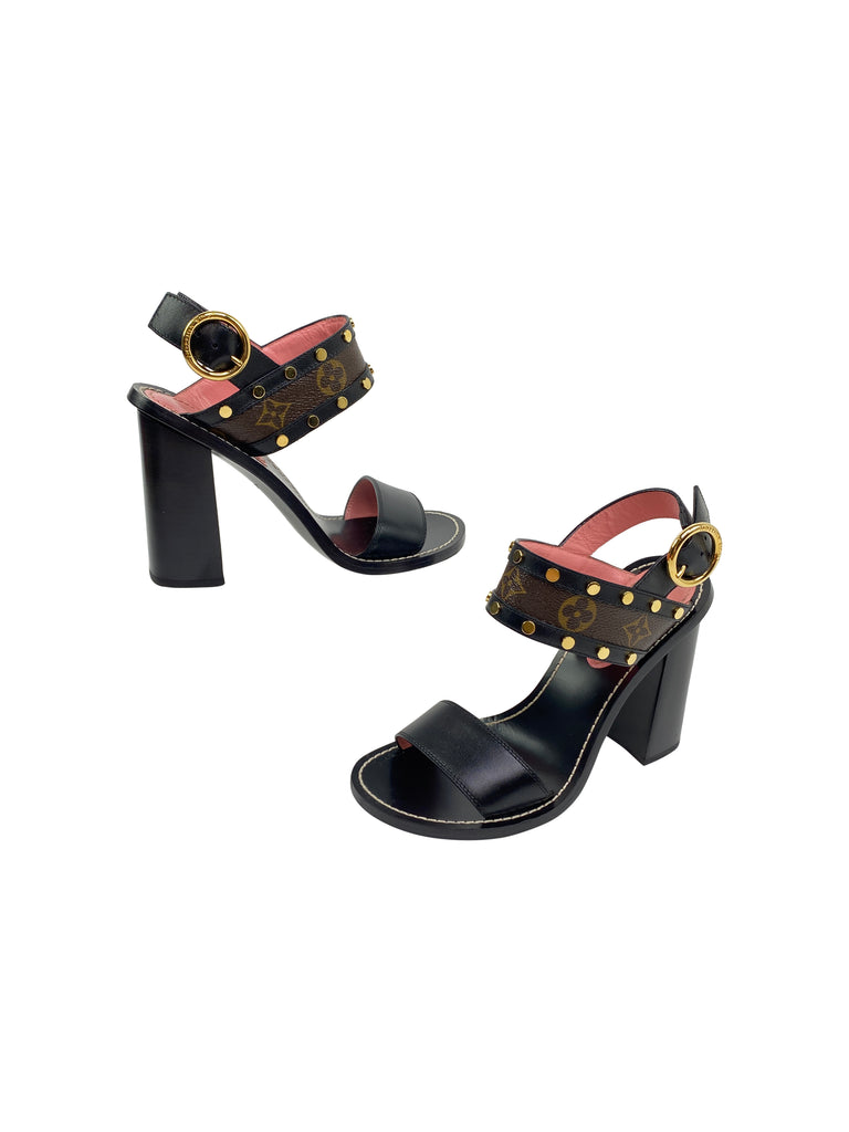 Louis Vuitton heels sandals black monogram studded shoes
