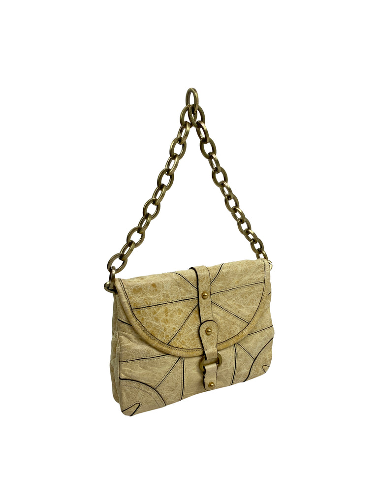 tracy Reese handbag flap mini leather chain ivory beige
