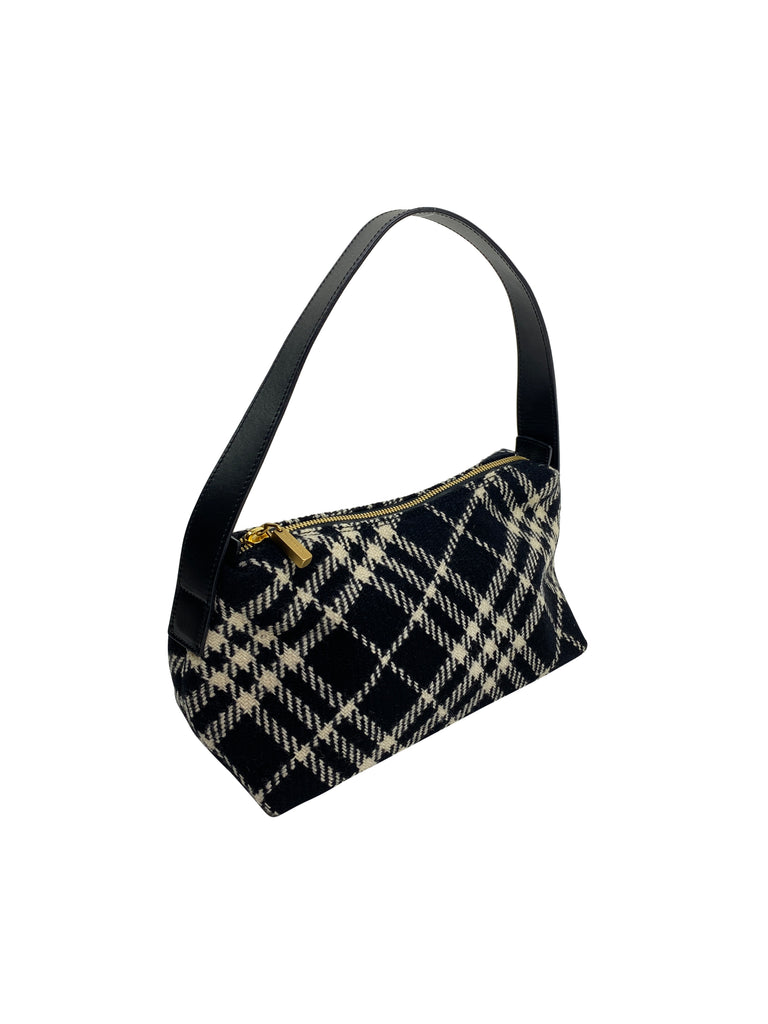 Burberry plaid shoulder bag black white fabric