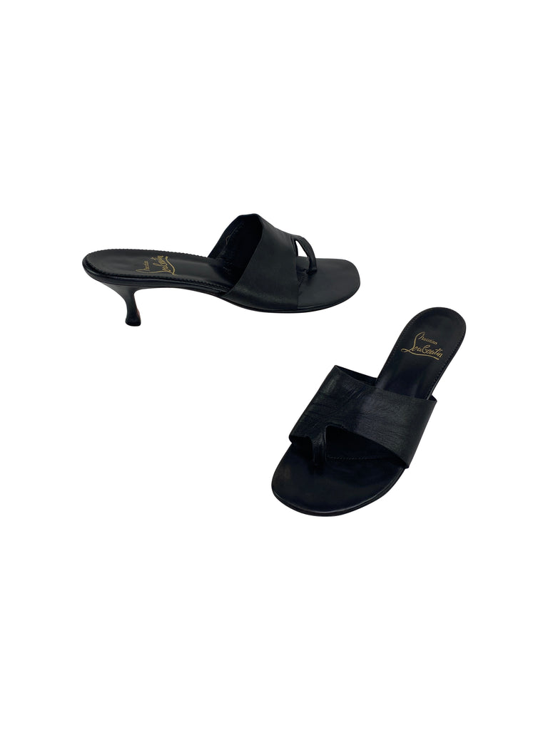 christian louboutin slides black sandals heels