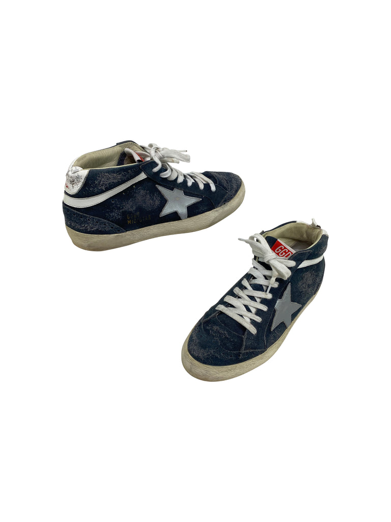 sneakers golden goose high tops superstars blue white