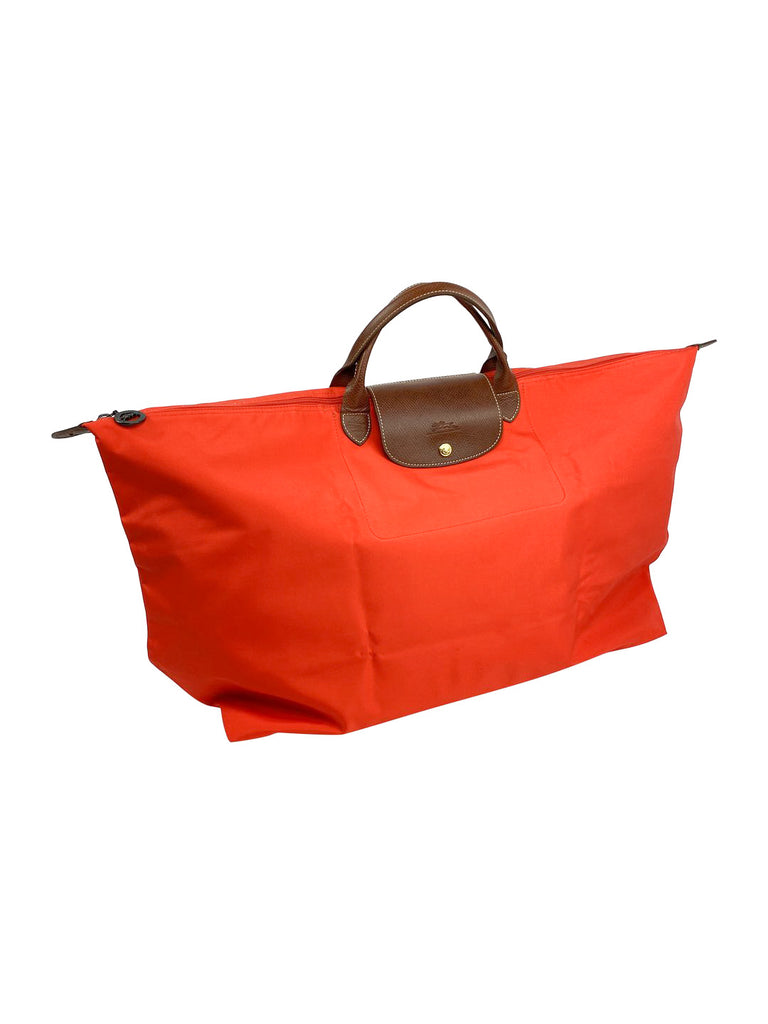longchamp nylon weekender packable red brown leather