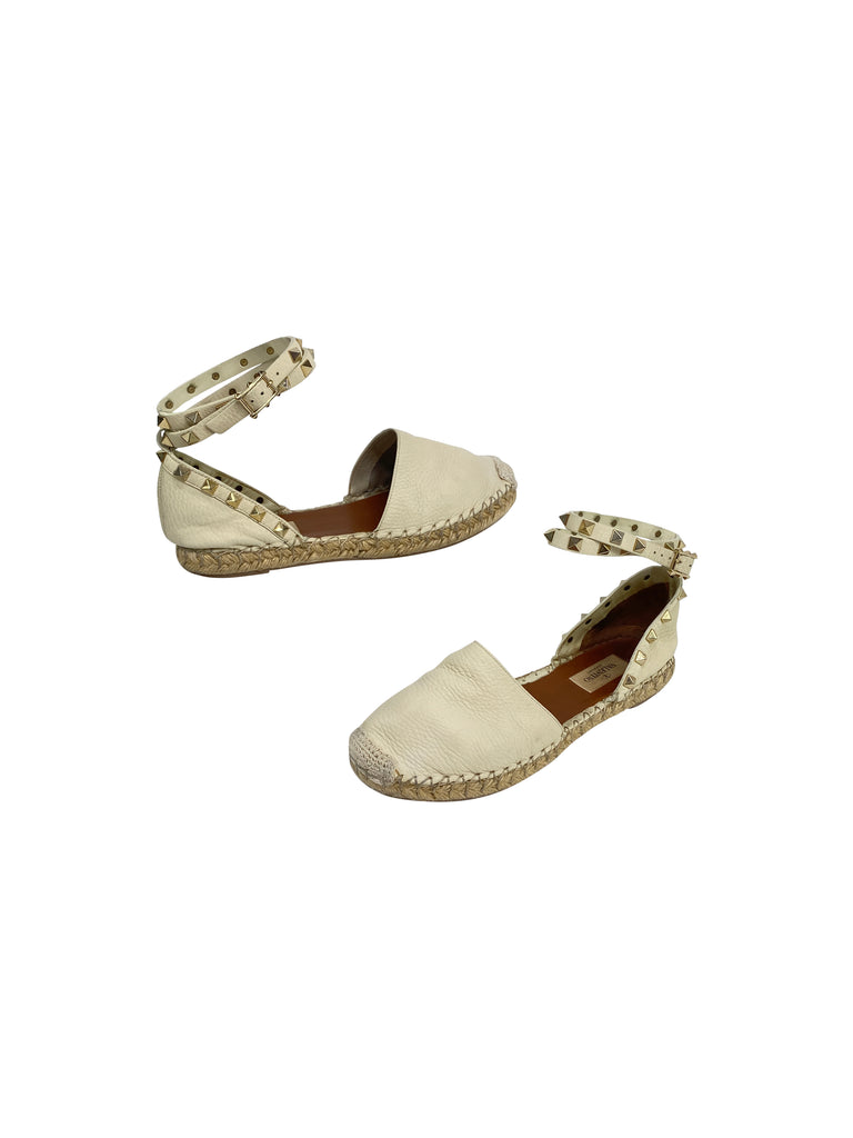 Valentino rockstud espadrille flats sandals white leather designer
