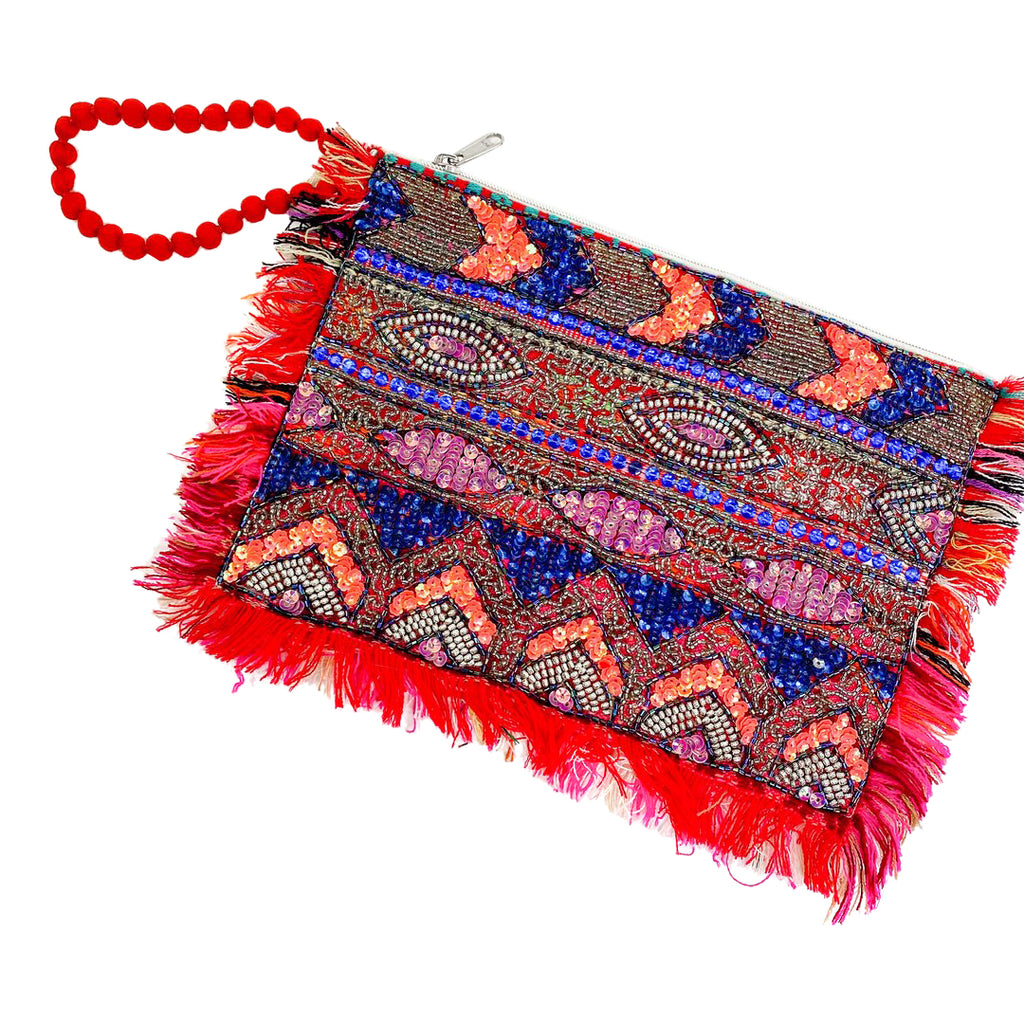 Lara ethnics beaded clutch fringe