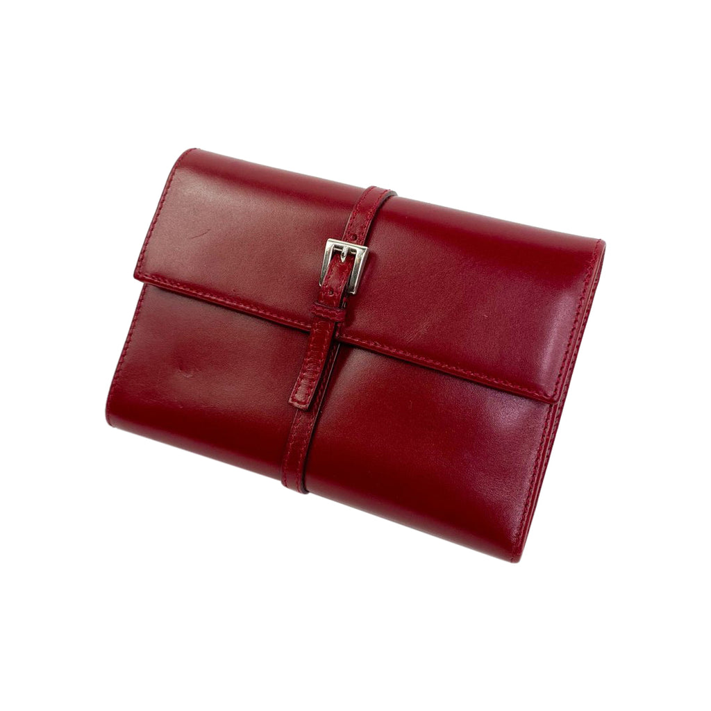 Prada red leather wallet trifold
