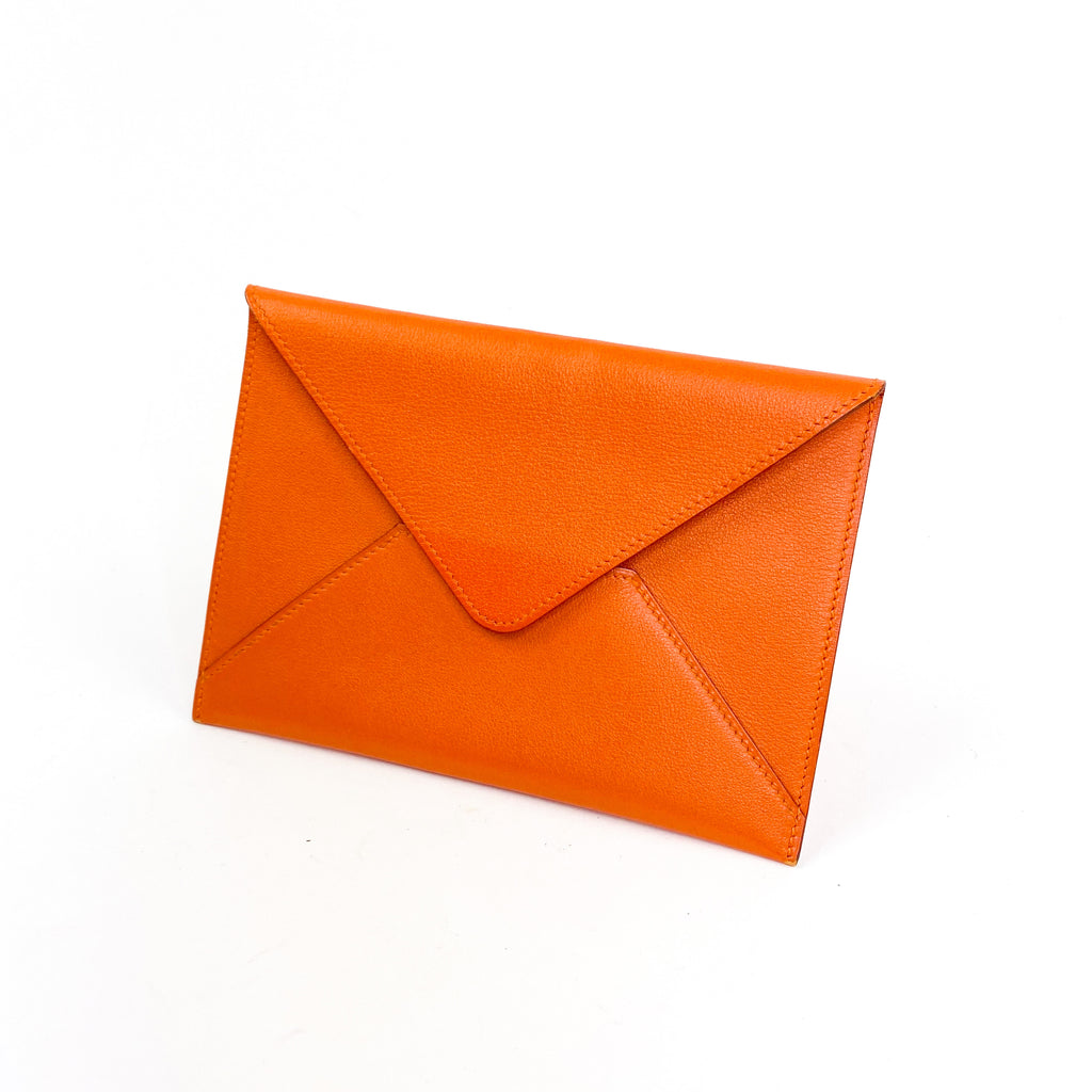 Tadelakt hermes envelope wallet pouch orange