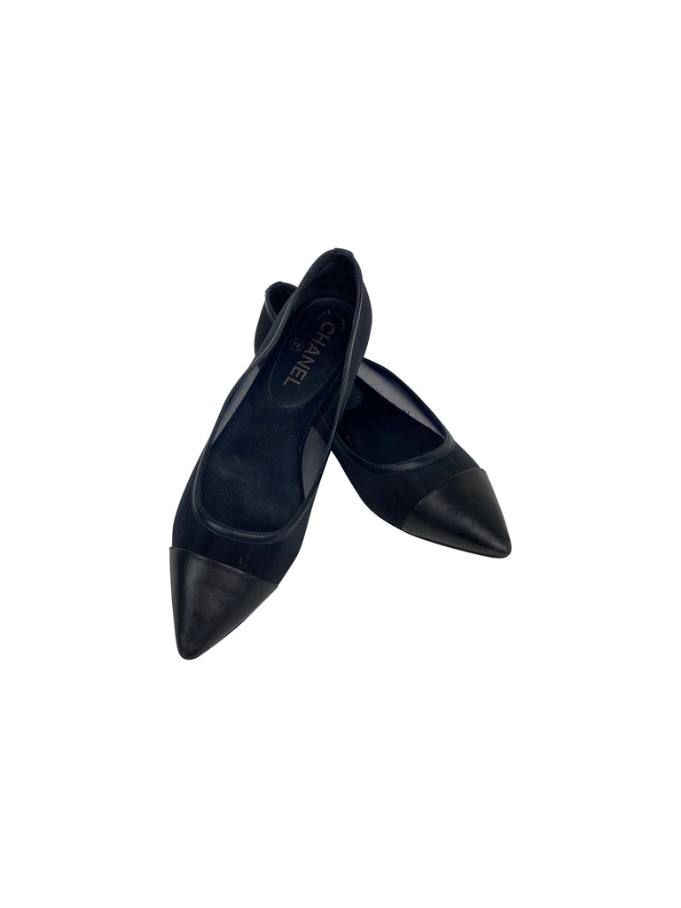 chanel black pointed toe flats mesh leather designer