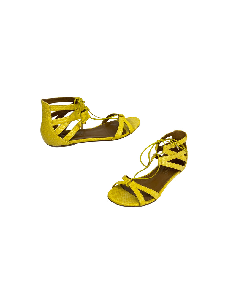 aquazzura yellow sandals