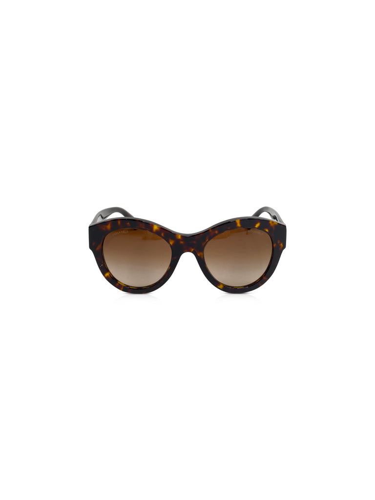 chanel tortoise sunglasses round