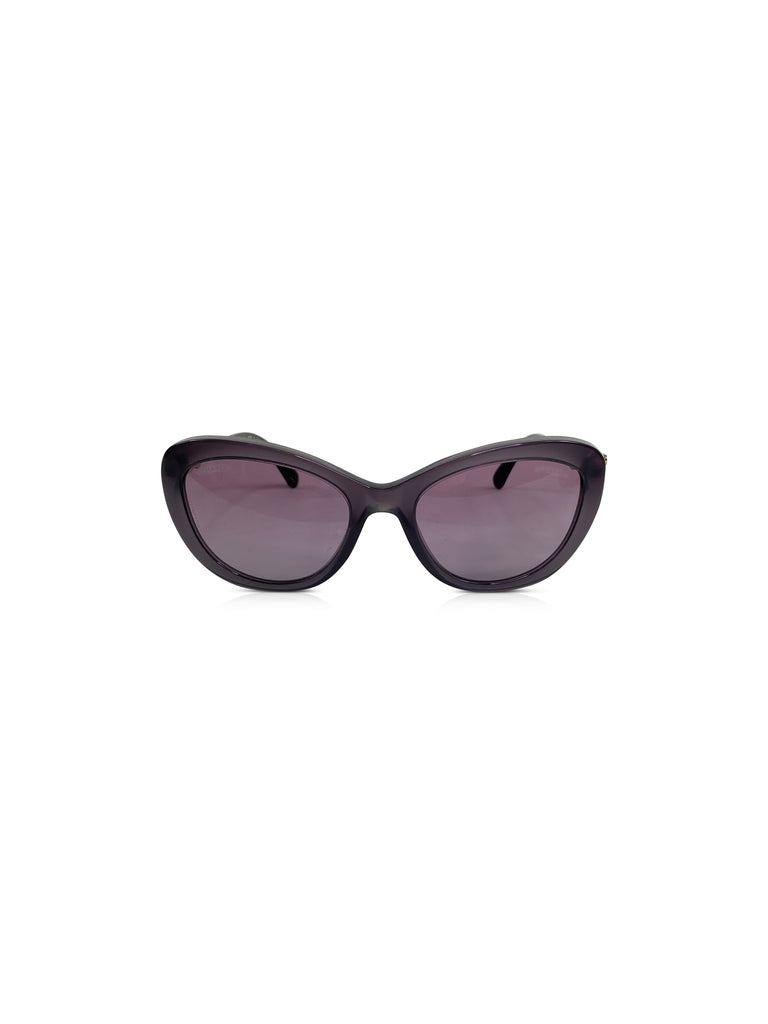 chanel cat eye sunglasses purple pearl