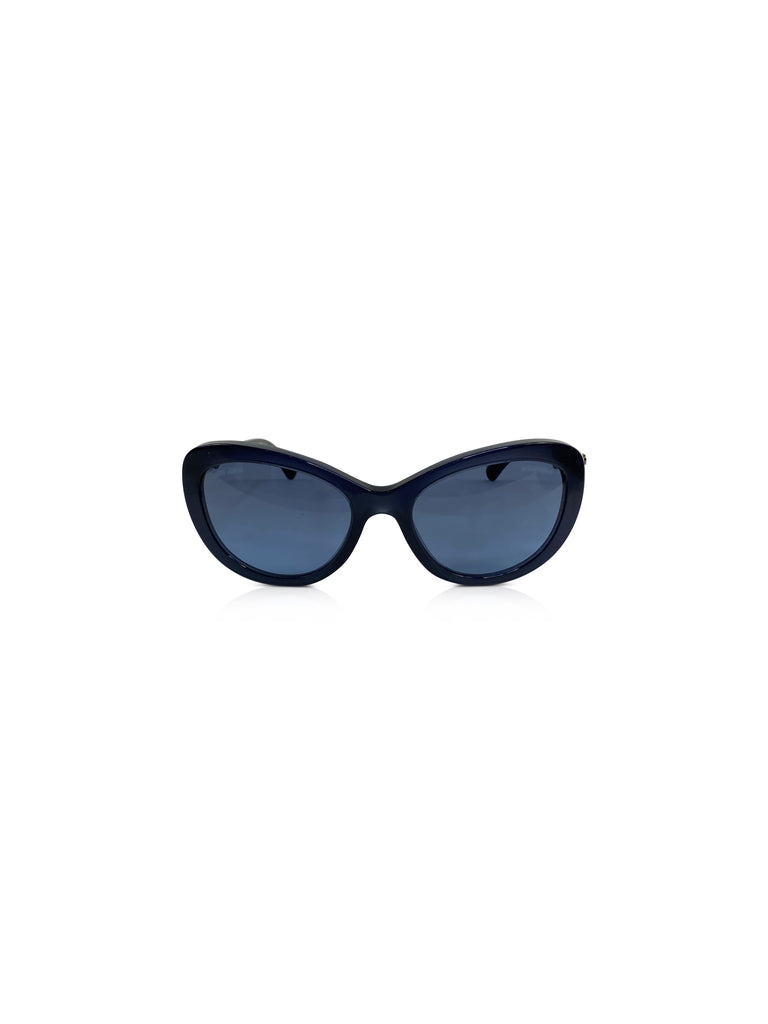 chanel cat eye sunglasses navy pearl