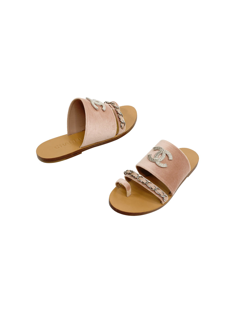 Chanel velvet nude blush sandals slides