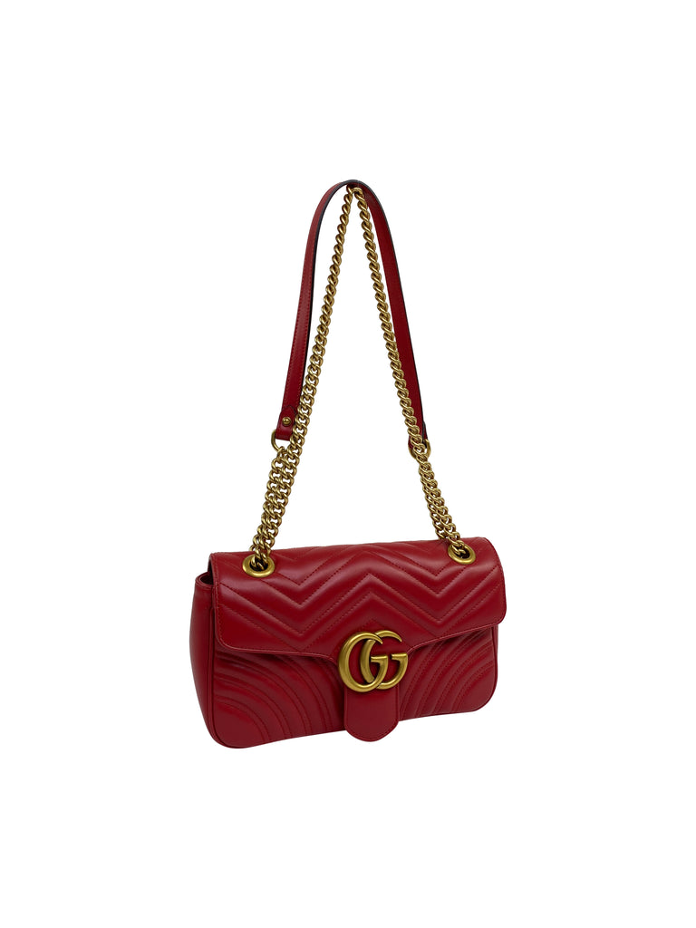 gucci marmont satchel red gold crossbody chain designer
