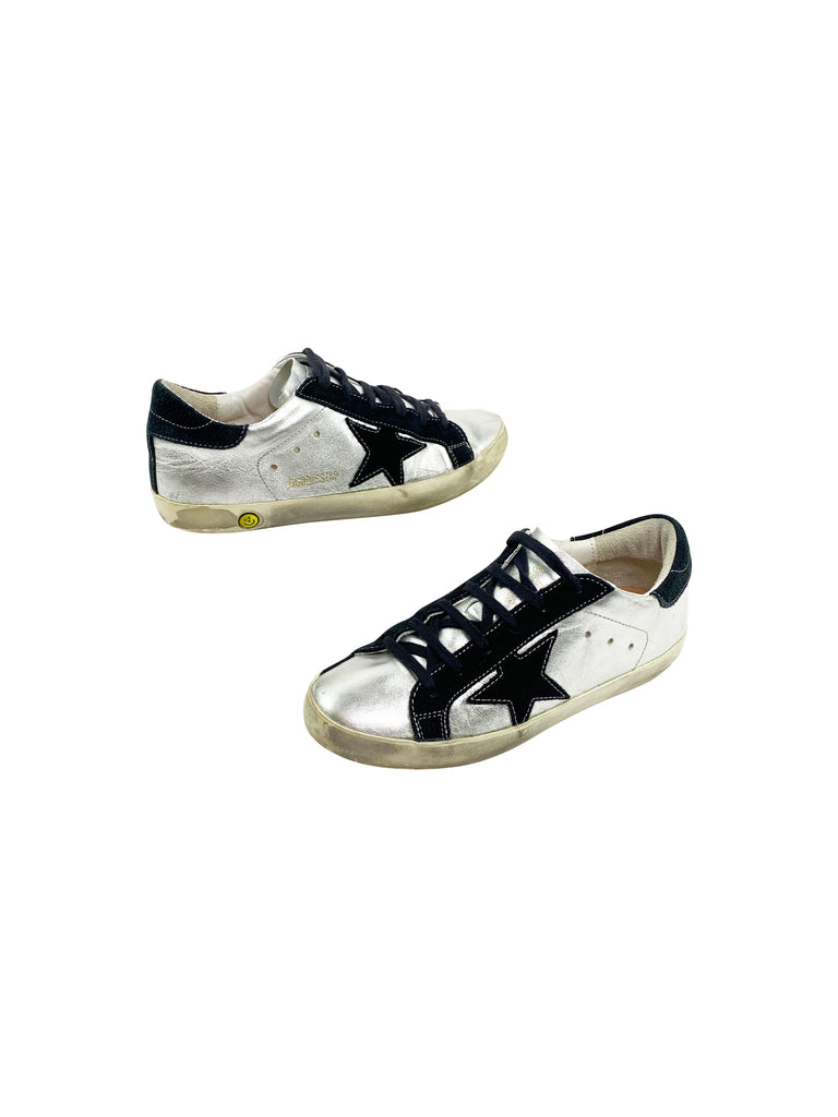 golden goose sneakers superstars silver navy suede