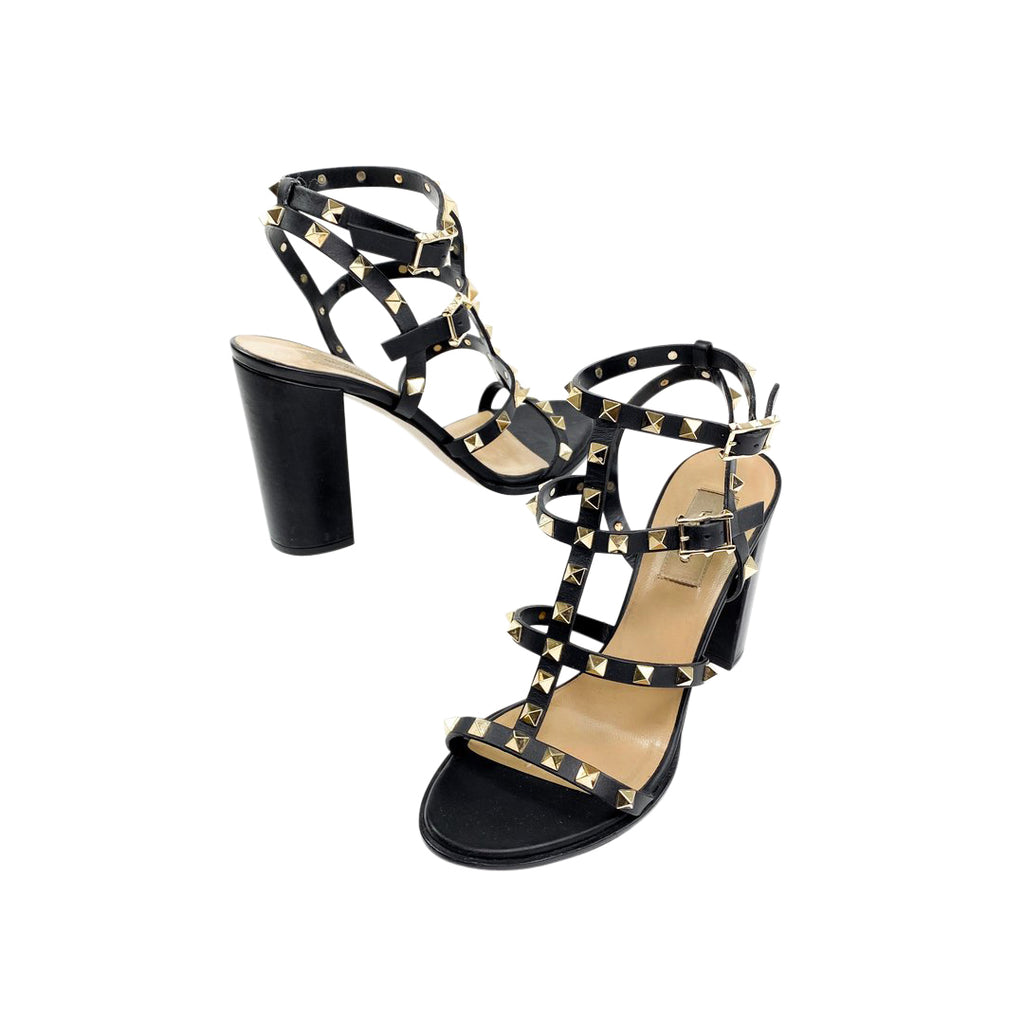 rockstud black sandals valentino