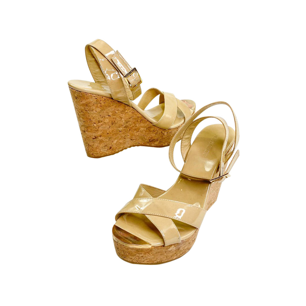 jimmy Choo wedge cork patent leather sandals