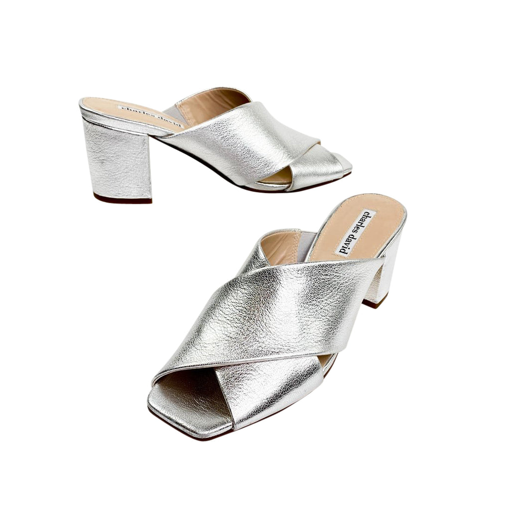 Charles David mules silver sandals