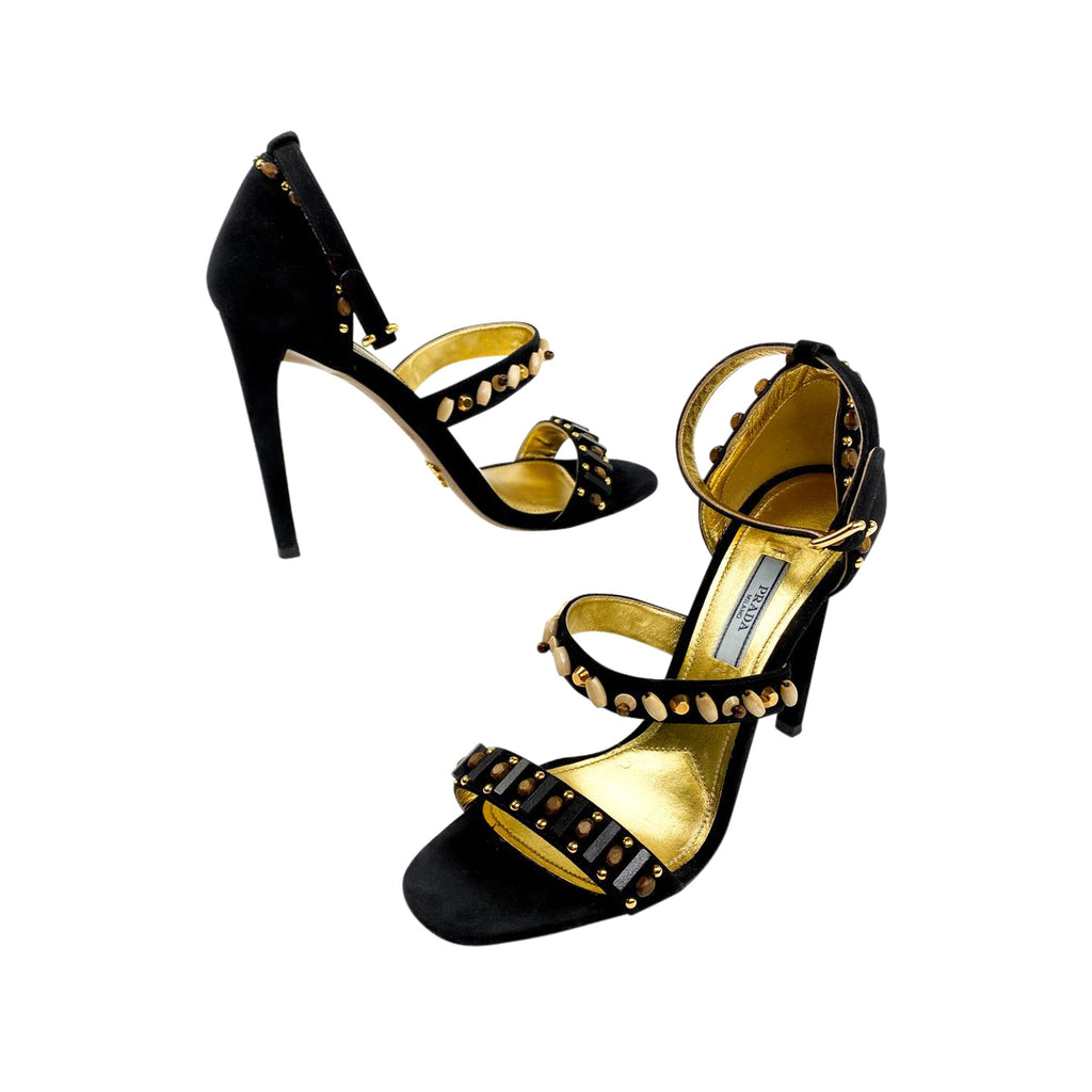 prada wood bead sandals heels