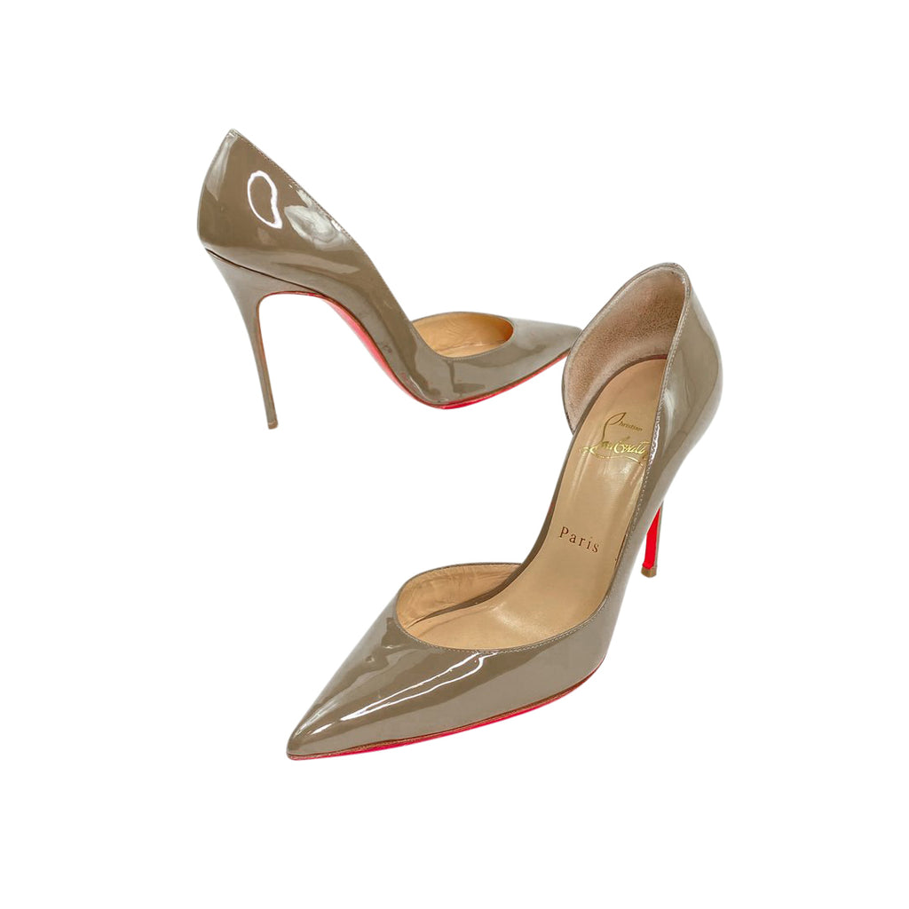 Louboutin d'Orsay pumps patent grey heels