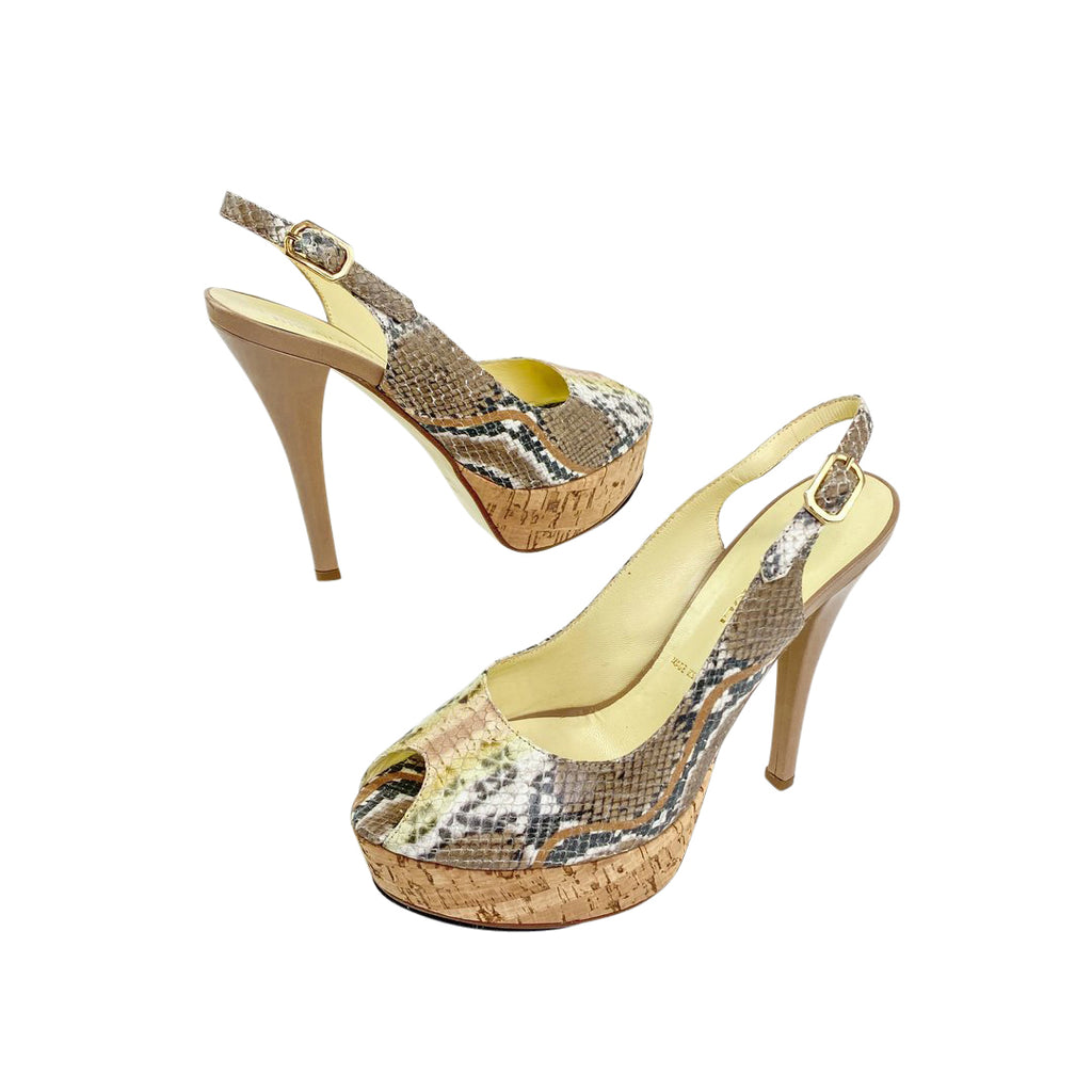 bruno magli snakeskin pumps cork