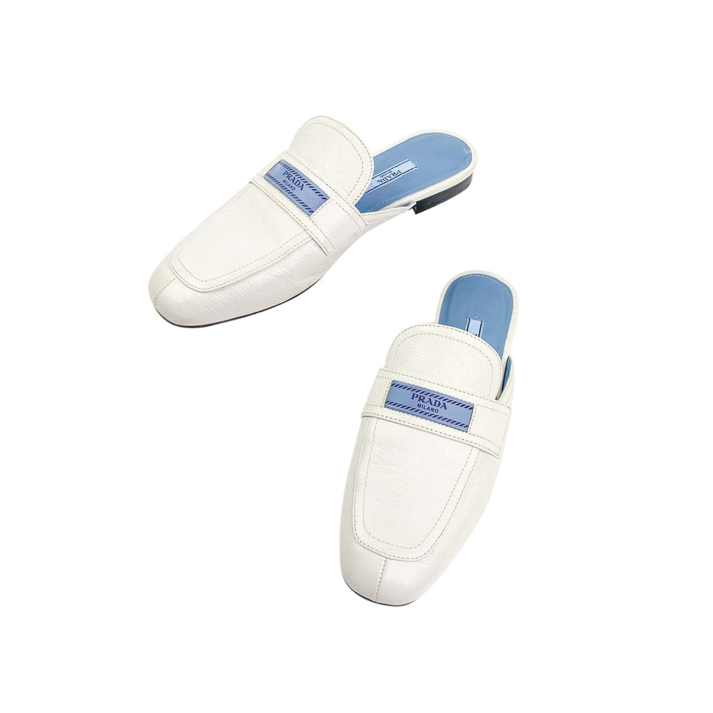 prada loafers mules white