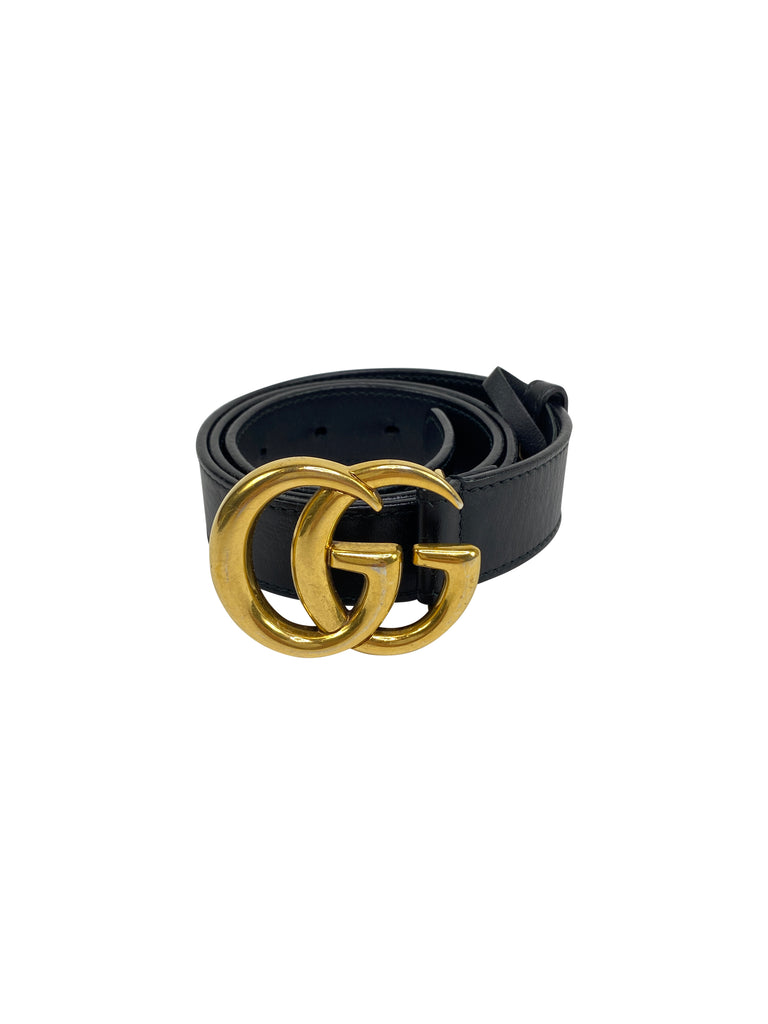 gucci marmont GG belt black gold