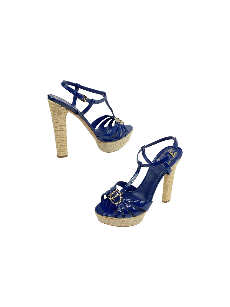 Christian Dior blue patent heeled sandals cork