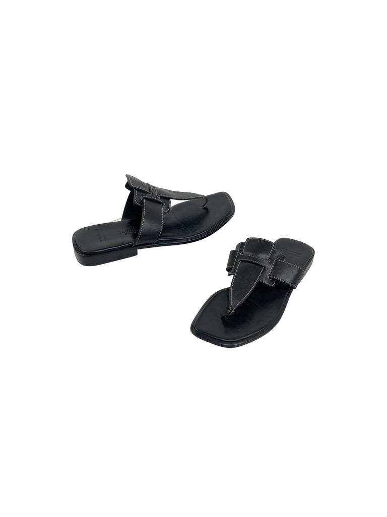 Hermès hermès thong sandals flats shoes black