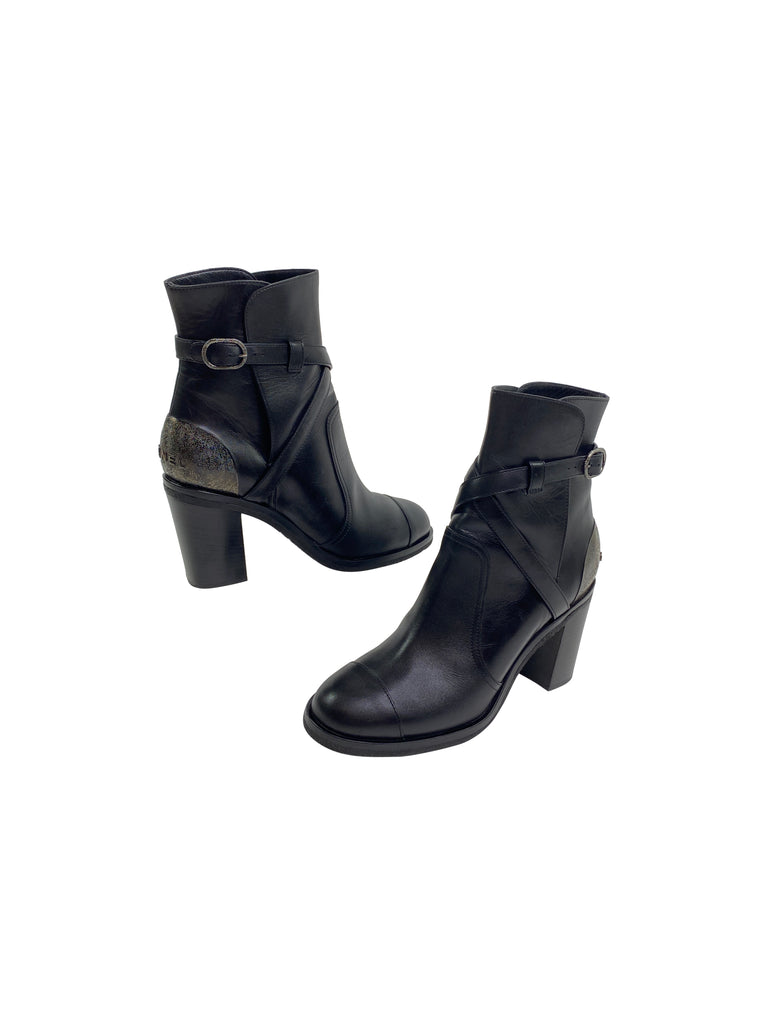 Chanel black ankle booties heel block silver  designer boots