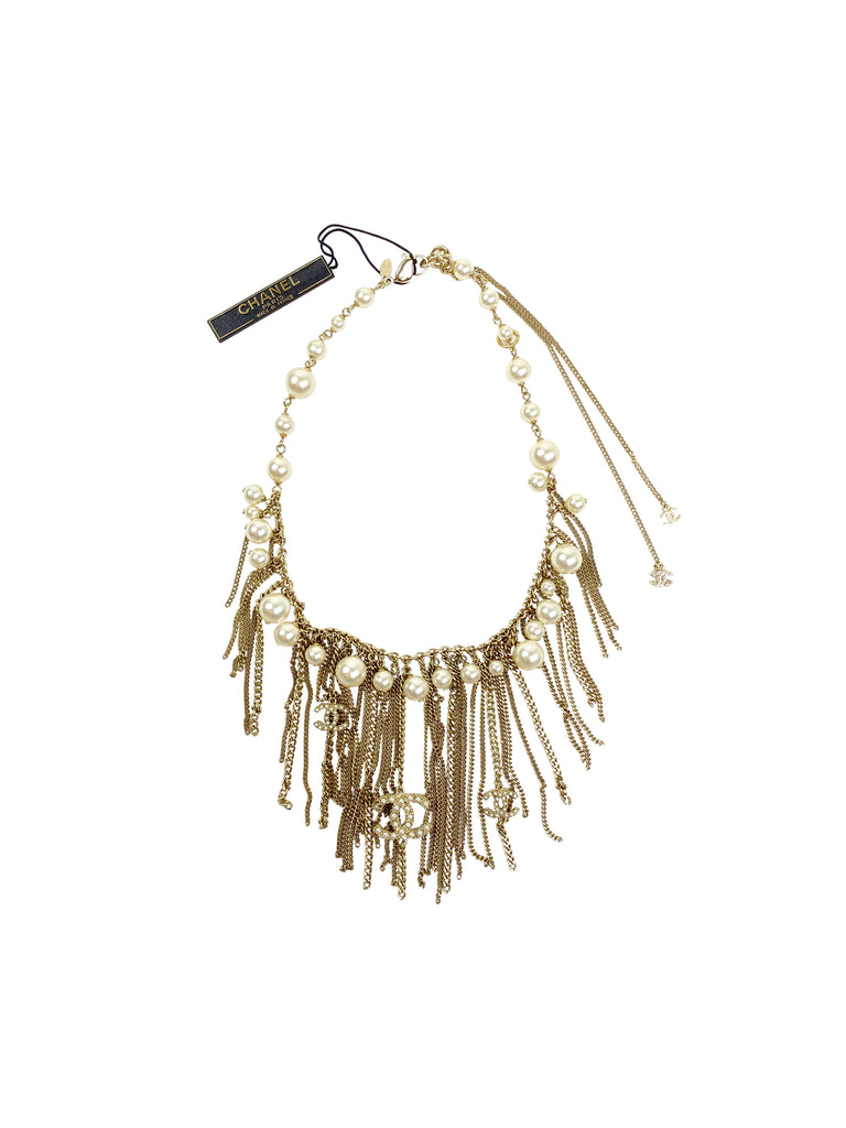 chanel gold statement fringe chain necklace designer jewelry pearl