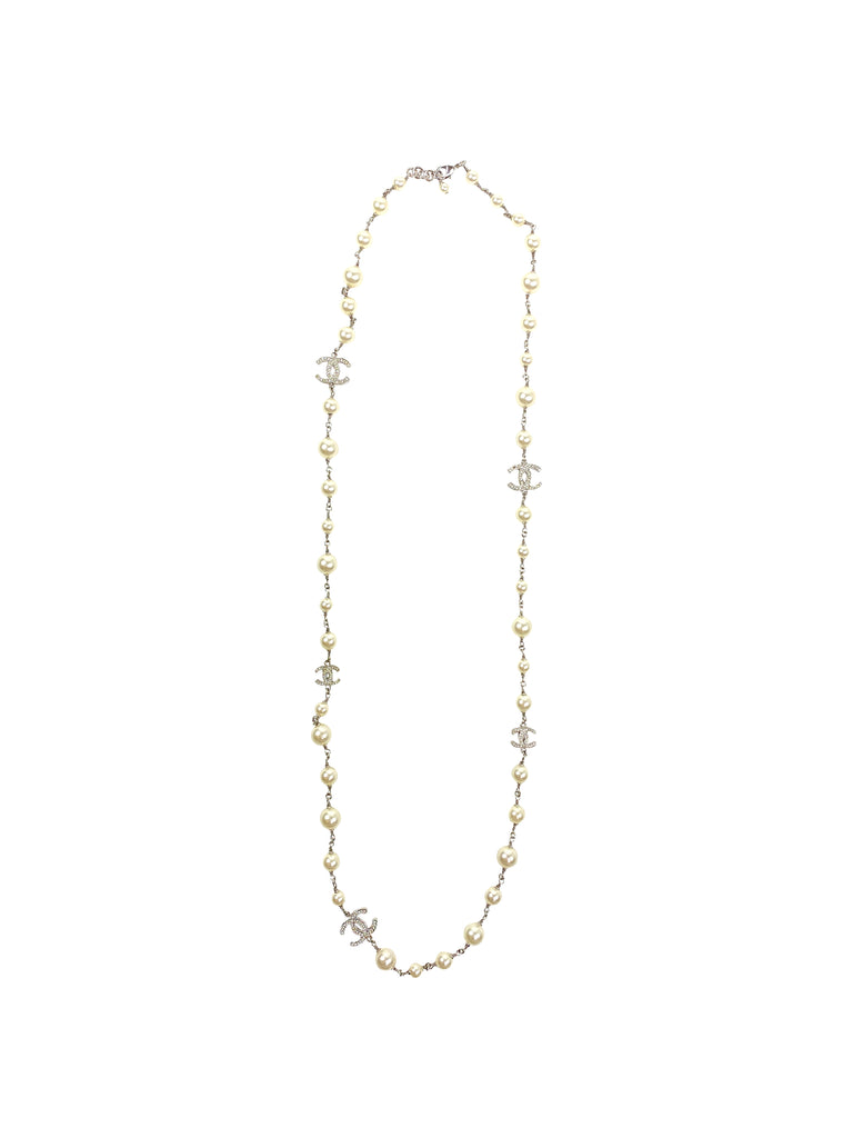 chanel station necklace pearl silver white design jewelry