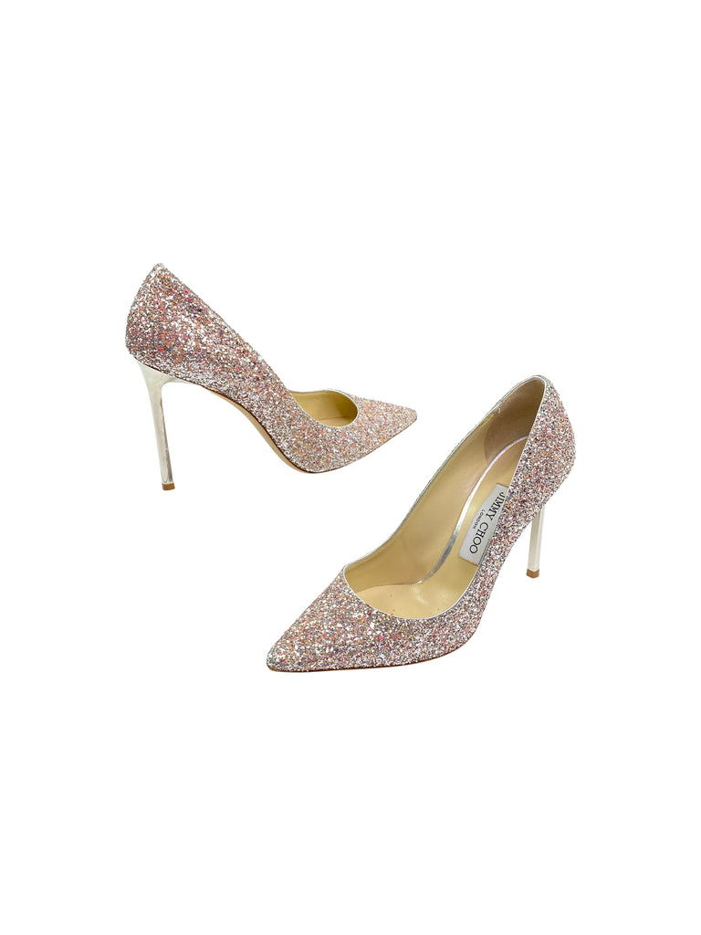 jimmy choo sparkle glitter pumps heels shoes silver