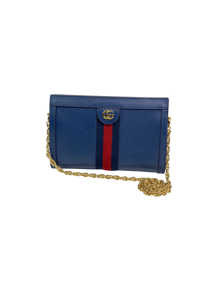 Gucci Ophidia Small Shoulder Bag navy leather webbing chain designer