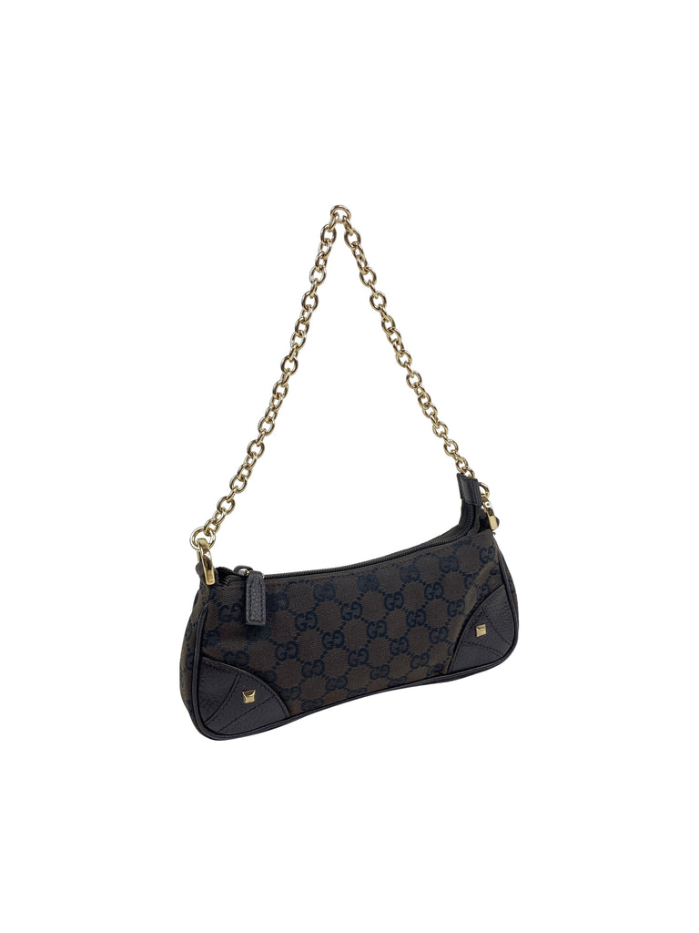 "Gucci monogram ""GG"" canvas shoulder brown chain vintage bag"