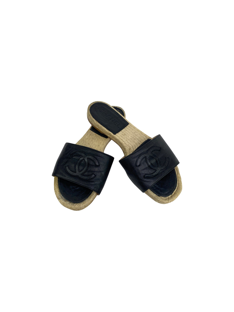 chanel black leather espadrilles slides