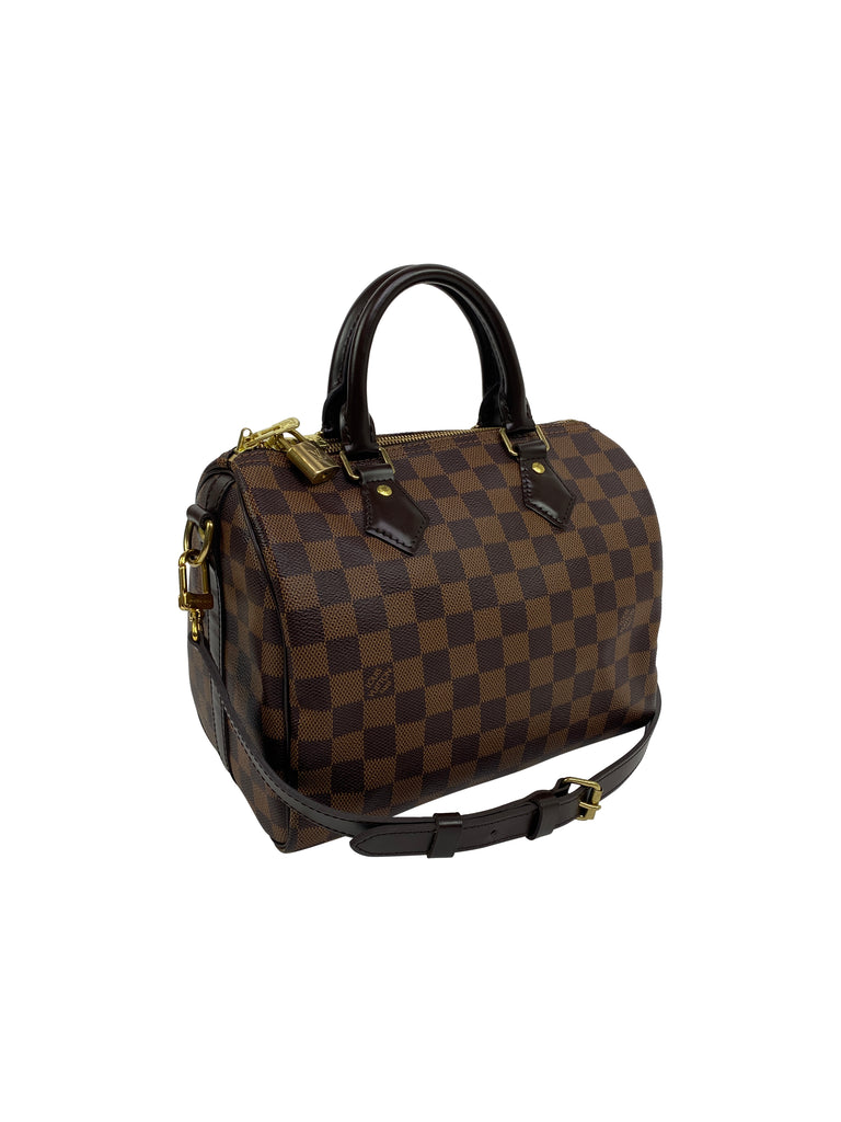 louis vuitton speedy damier checkerboard handbag designer brown Bandoulière Ebene
